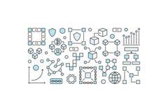 Blockchain moderne banner of illustratie op witte achtergrond Royalty-vrije Stock Afbeelding