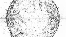Blockchain mondiaal net in digitale cyberspace Financiële of sociale abstracte black&white animatie als achtergrond 4K stock video