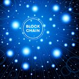 Blockchain cryptocurrency template. Blockchain network concept , Distributed ledger technology , Block chain text and computer connection. The file is saved in Royalty Free Stock Photography