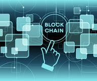 Blockchain cryptocurrency template. Blockchain network concept , Distributed ledger technology , Block chain text and computer connection. The file is saved in Royalty Free Stock Image
