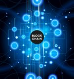 Blockchain cryptocurrency template. Blockchain network concept , Distributed ledger technology , Block chain text and computer connection. The file is saved in Stock Images