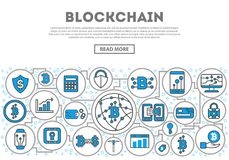 Blockchain network linear style infographics. Distributed ledger technology, business cloud computing, global payment system, financial data protection, data Stock Photos