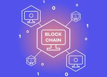 Blockchain network vector illustration background. Virtual money and e-business concept Royalty Free Stock Image