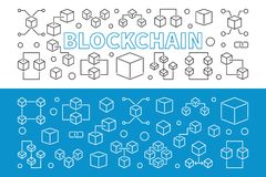 Blockchain new technology horizontal vector outline banners. Blockchain new technology horizontal vector banners. Two modern crypto currency and block chain Stock Images