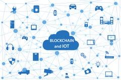 Blockchain och internet av saker vektor illustrationer