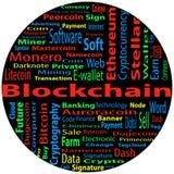Blockchain ordmolnbegrepp på svart bakgrund Arkivbilder