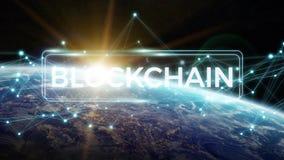 Blockchain på tolkning för planetjord 3D Royaltyfri Bild