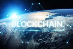 Blockchain på tolkning för planetjord 3D Arkivbilder
