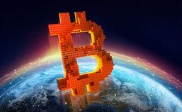 Blockchain planet. Bitcoin symbol. 3D illustration stock illustration