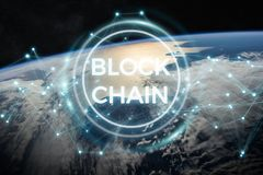 Blockchain on planet Earth 3D rendering. Blockchain and connections over the globe 3D rendering elements of this image furnished by NASA Stock Photo