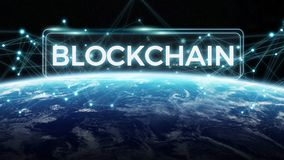 Blockchain on planet Earth 3D rendering. Blockchain and connections over the globe 3D rendering elements of this image furnished by NASA Royalty Free Stock Image