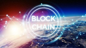 Blockchain on planet Earth 3D rendering. Blockchain and connections over the globe 3D rendering elements of this image furnished by NASA Royalty Free Stock Photo