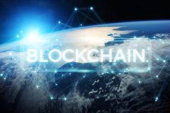 Blockchain on planet Earth 3D rendering. Blockchain and connections over the globe 3D rendering elements of this image furnished by NASA Stock Images