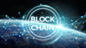 Blockchain on planet Earth 3D rendering. Blockchain and connections over the globe 3D rendering elements of this image furnished by NASA Stock Image