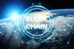 Blockchain on planet Earth 3D rendering. Blockchain and connections over the globe 3D rendering elements of this image furnished by NASA Stock Photography