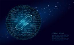 Blockchain połączenia znaka depresja poli- Internetowej technologia łańcuchu ikony trójboka hyperlink poligonalnej planety Ziemsk ilustracji