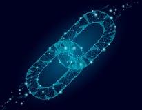 Blockchain połączenia znaka niski poli- projekt Internetowego technologia łańcuchu ikony trójboka hyperlink ochrony poligonalny b royalty ilustracja