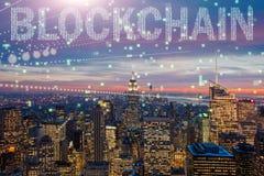 Blockchain pojęcie w bazy danych zarządzaniu Obraz Stock