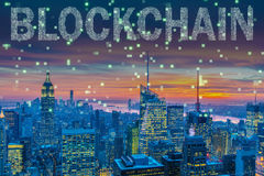 Blockchain pojęcie w bazy danych zarządzaniu Zdjęcia Stock
