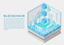 Blockchain pojęcie z symbolem unosić się bloki jako isometric 3d wektoru ilustracja obraz stock