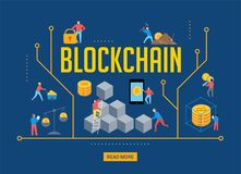 Blockchain scene with minimalistic people. Fintech industry concept design. Blockchain scene with minimalistic people. Fintech industry, finance digitization Royalty Free Stock Images
