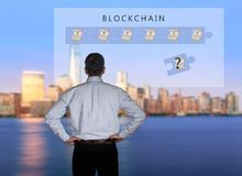 Senior technologist looking at blockchain illustration royalty free stock photos