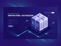 Blockchain serweru pojęcie, kwantowy komputer, serweru pokój, baza danych, ewidencyjny magazyn i przerobu isometric wektor, ilustracji