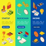 Blockchain Startup Signs 3d Banner Vecrtical Set Isometric View. Vector royalty free illustration