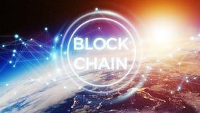 Blockchain sulla rappresentazione del pianeta Terra 3D Fotografie Stock Libere da Diritti