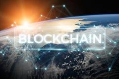 Blockchain sulla rappresentazione del pianeta Terra 3D Fotografia Stock