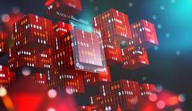 Blockchain technologia Ewidencyjni bloki w cyfrowej przestrzeni Decentralizująca globalna sieć Cyberprzestrzeni ochrona danych royalty ilustracja