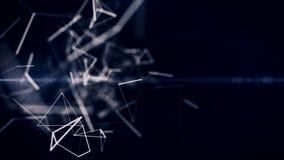 Blockchain, technologia, ochrona, cyfrowy geometrical tło z chodzeniem wykłada i kropki loopingu cg animacja royalty ilustracja