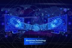 Blockchain-Technologie schließt Vertrag Plakat-Vektors ab vektor abbildung