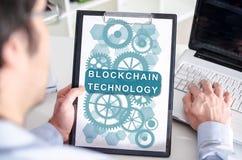 Blockchain-Technologiekonzept auf einem Klemmbrett Lizenzfreies Stockbild