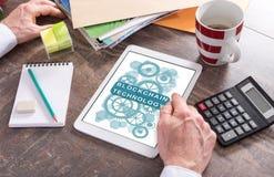 Blockchain-Technologiekonzept auf einer Tablette Stockbilder