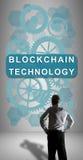 Blockchain-Technologiekonzept aufgepasst von einem Geschäftsmann Stockbilder