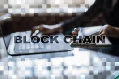 Blockchain-Technologiekonzept Internet-Geldüberweisung Cryptocurrency Stockbild