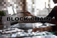 Blockchain-Technologiekonzept Internet-Geldüberweisung Cryptocurrency Lizenzfreies Stockfoto