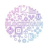 Blockchain technologii kolorowa kreskowa round wektorowa ilustracja ilustracja wektor