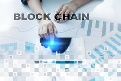 Blockchain technologii pojęcie Internetowy przelew pieniędzy Cryptocurrency Fotografia Stock