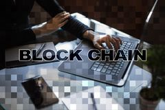 Blockchain technologii pojęcie Internetowy przelew pieniędzy Cryptocurrency Obraz Royalty Free