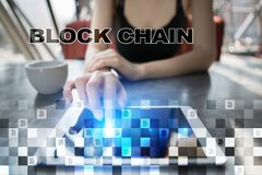 Blockchain technologii pojęcie Internetowy przelew pieniędzy Cryptocurrency Zdjęcia Royalty Free