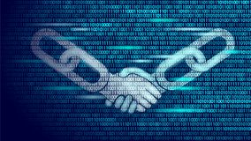 Blockchain technology agreement handshake business concept low poly. Icon sign symbol binary code numbers design. Hands. Chain link internet hyperlink