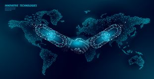Blockchain technology agreement handshake business concept low poly. Polygonal point line geometric design. Hands chain. Link internet hyperlink connection blue royalty free illustration