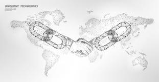 Blockchain technology agreement handshake business concept low poly. Polygonal point line geometric design. Hands chain. Link internet hyperlink connection blue stock illustration