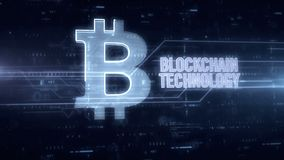 Blockchain technology blue hologram. Blockchain technology and bitcoin symbol blue hologram 3d animation. Futuristic concept of crypto currency, online finance royalty free illustration
