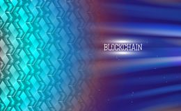 Blockchain technology, chain agreement business concept database cryptocurrency. Data network crypto mining blue background hyperl. Ink. Turquoise vector royalty free illustration