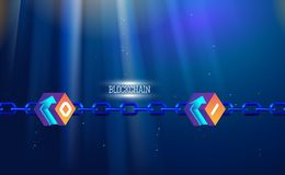 Blockchain technology, chain agreement business concept database cryptocurrency. Data network crypto mining, blue background. Hyperlink. Vector illustration royalty free illustration