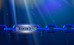 Blockchain technology, chain agreement business concept database cryptocurrency. Data network crypto mining, blue background. Hyperlink. Vector illustration vector illustration