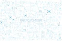 Blockchain technology colorful line round vector illustration on stock illustration